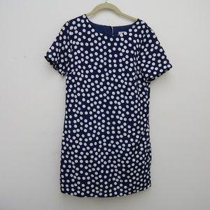 Womens J.CREW Blue White Dot Dress Size 4